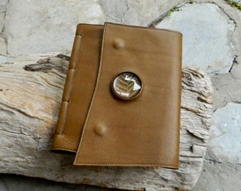 Leather Journal Magnified Fern Leaves Olive Brown Leather Diary Blank Page Notebook Recycled Leather Journal