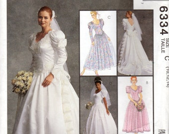"Wedding & Bridesmaids Dress Pattern- Size 10, 12, 14 Bust 32 1/2"", 34"", 36"" - McCall's 6334 uncut"