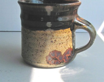 Floyd Kemp Mug, Chocolate Brown, Vintage 70s, Studio Pottery, Rustic Stoneware, Michigan Potter, Gift for Dad, Fathers Day