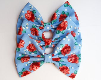 SALE - Evelyn Hair Bow - Blue & Red Floral Hair Bow with Clip