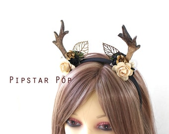 Black and Ivory Rose Druid Deer Antler headband (Leaf Veins) Woodland Mori kei headdress for flower girls, harajuku fashion, cosplay,larp