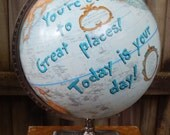 "CUSTOM PAINTED 12"" Vintage Hand Painted Dr Seuss Quote Globe"