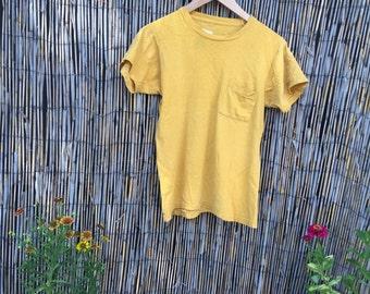 VINTAGE 1970's Gold Super Soft & Thin Pocket T Shirt