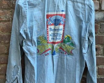 VINTAGE 1970's Distressed Budweiser Denim Chambray Shirt