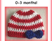 SALE Patriotic hat - READY to SHIP - July 4 hat, red white blue hat, girl, bow, 0-3 months
