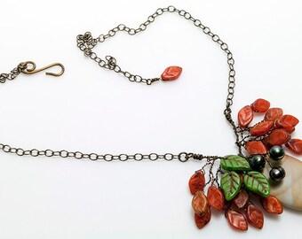 Autumn Orange Leaf Necklace, Orange Bib Necklace, Nature Jewelry, Gift for Her,  CPJ N553