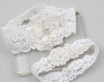 Lace garter set, wedding garter set, bridal garter set, wedding garter belt, white lace garter