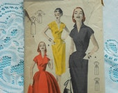 Vintage Butterick dressmaking pattern Tailored Dress: Slim or Full Skirted 1956