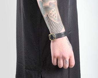 JAKIMAC Mens Leather Buckle Bracelet/Genuine Leather Bracelet Adjustable Black,Silver,Gold
