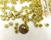 Letter Beads Bulk 500 pieces alphabet beads Gold Flat Round Black letters 7x4mm Side Drill Craft Supply alphabet beads