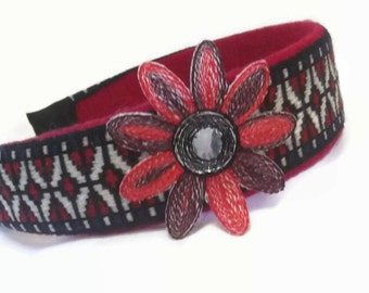 Red & Black Fabric Headband - Flower Hair Accessory - Boho Hair Accent - Spring Headband