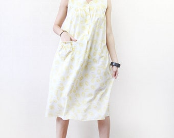 Vintage 60s yellow white floral print button up day balloon midi dress