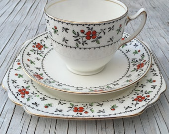 Vintage Bone China tea set. Gladstone China, hand painted. Tea trio for one to three with option for jug and large plate.