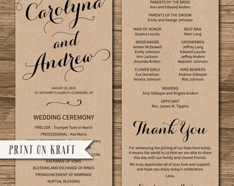 4x9 wedding program | Etsy