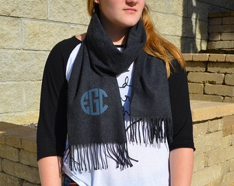 Monogram Cashmere Feel Scarves, Monogram Solid Color Scarfs, Personalized Scarves, Personalized Monogram Scarf, Cashmere Feel Scarves