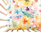Crib Sheet Watercolor Flowers. Fitted Crib Sheet. Baby Bedding. Crib Bedding. Minky Crib Sheet. Crib Sheets. Floral Crib Sheet.