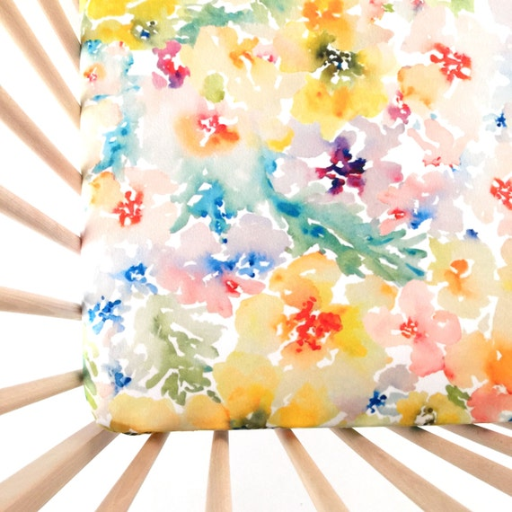 Crib Sheet Watercolor Flowers. Fitted Crib Sheet. Baby