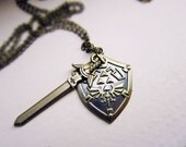 The legend of Zelda Brass sword and shield necklace or keychain- gamer gift