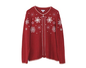 Christmas Cardigan - SNOWFLAKES RED Plus Size Ugly SWEATER party Festive Holiday Cute Zip Up Festive Nordic Ski Sweater Normcore Xmas Party