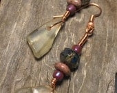 Kodiak Island Sea Glass Earrings from Alaska with Stone and Glass Beads with Copper Colored wire