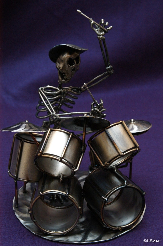 Alternative decor, Drummer, skeleton sculpture, skeleton metal gift, skeleton collection, gift drummer, drum art gift, drum set art