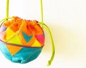 Vintage Leather Geometric Tribal Purse / Colorful 80s Crossbody Bag / Neon Tribal Leather Purse