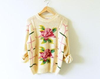 Cozy Vintage Rose Sweater / Retro Garden Floral Sweater / Popcorn Knit Cream Floral Sweater