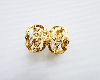 Antique 8K Oval Gold Earrings with Tiny Rough Cut Diamonds from the Philippines