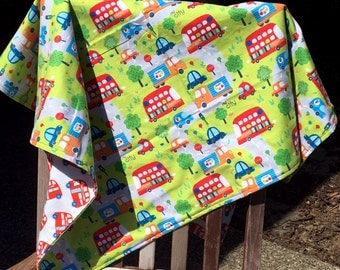 Flannel Baby Blanket / Kid Car Blanket - London Buses, Double Decker Buses, Cars and Trucks, Personalization Available