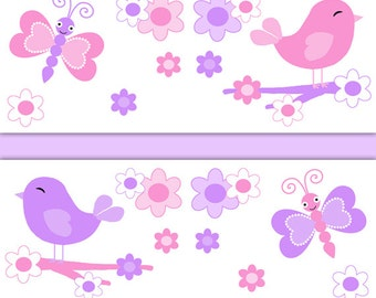 Girl Nursery Decor Butterfly Chickadee Bird Wallpaper Border Decals Baby Wall Art Pink Purple Kids Room