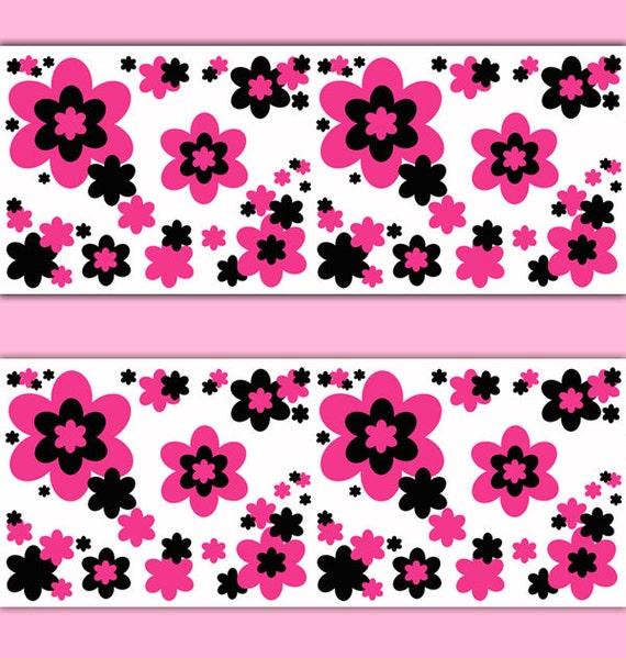 hot pink flowers wallpaper border wall art decal teen girl stickers