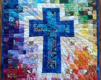 Quilt, Rainbow Cross Watercolor