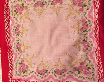 Beautiful Vintage Cotton Hankerchief with Crocheted Edging