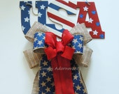 Fourth of July Burlap Bow July 4th Burlap Bow Patriotic door hanger Bow Red White Blue Burlap Bow Patriotic Burlap Wreath Bow Gift Bow