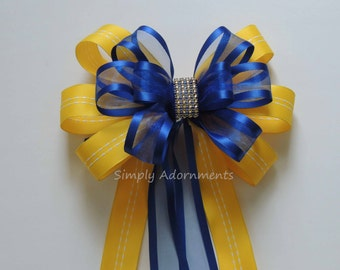 Yellow Royal Blue Wedding Pew Bow Beauty and the Beast Birthday Party Decor Blue Yellow bling Wedding Aisle Decor Bridal Shower Party Decor