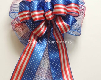 Red White Blue Bows Patriotic Wreath Bow Independence Day Labor Day Decoration Fourth 4th of July Bow Memorial Bow