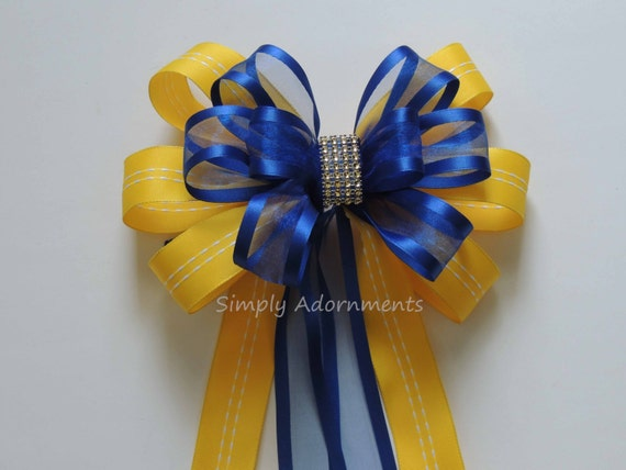 Yellow Royal Blue Wedding Bow Blue Yellow bling Wedding Aisle Decor Royal Blue Yellow Bridal Shower Party Decor Blue Yellow Grad Party Decor