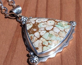 "Brecciated Turquoise Pendant with Handmade Silver Embellishments on Sterling 18"" Chain"
