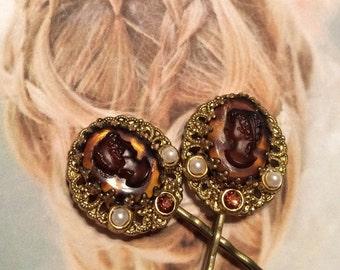 Decorative Hair Pins Vintage Cameo Goddess West Germany Bridal Wedding Hairpins Bobby Pins