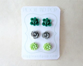 Flower Stud Earrings Set. Emerald Orchid Earrings, Grey Rose Earrings, Mint Daisy Earrings. Cute Flower Earring Studs. Pretty Gifts for Her.
