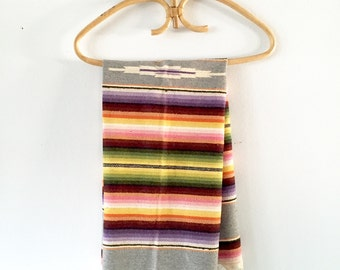 Vintage Saltillo Mexican Serape Striped Blanket Rug