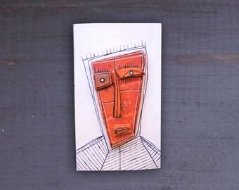 Weird face, Wall sculpture, Creepy sculpture, 3D wall art, Red pottery, Ceramic sculpture, Art doll, Ceramic face by 99heads
