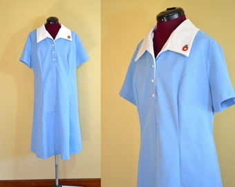 1970s Vintage Plus Size Holly Hill Blue and White Day Dress size 22.5 (XXL) bust 46