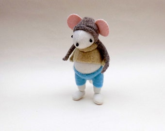 White Woollen Mouse  -  Handmade woolly plush mouse wearing a cream woollen pullover and blue felt pants.