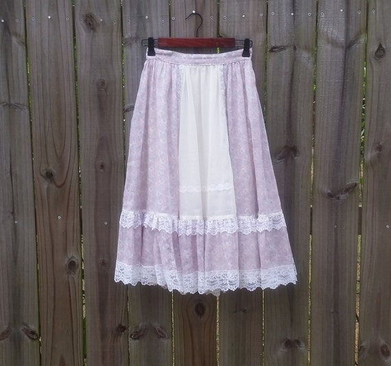 XS S Extra Small Vintage 70s Gunne Sax Pastel Calico Ditzy Prairie Floral Print Western Hipster Festival Boho Indie Lolita Lined Full Skirt
