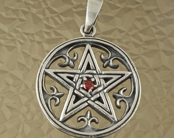 Sterling Silver Pentagram In a Circle Pendant Wiccan Pagan Occult