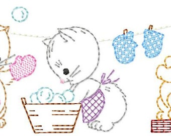Vintage 3 Little Kittens washing/drying their Mittens, Machine Embroidery Design 6x10, vintage colorwork linework, INSTANT DOWNLOAD