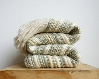 Organic throw blanket, Yerba mate wool wrap, natural green handwoven Blanket