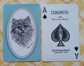 Collectible Vintage Aqua Ragdoll Cat Swap Card | Ace of Spades | Playing Card