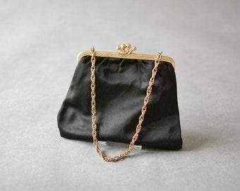 Vintage black gold party hand bag wedding clutch bag purse satin